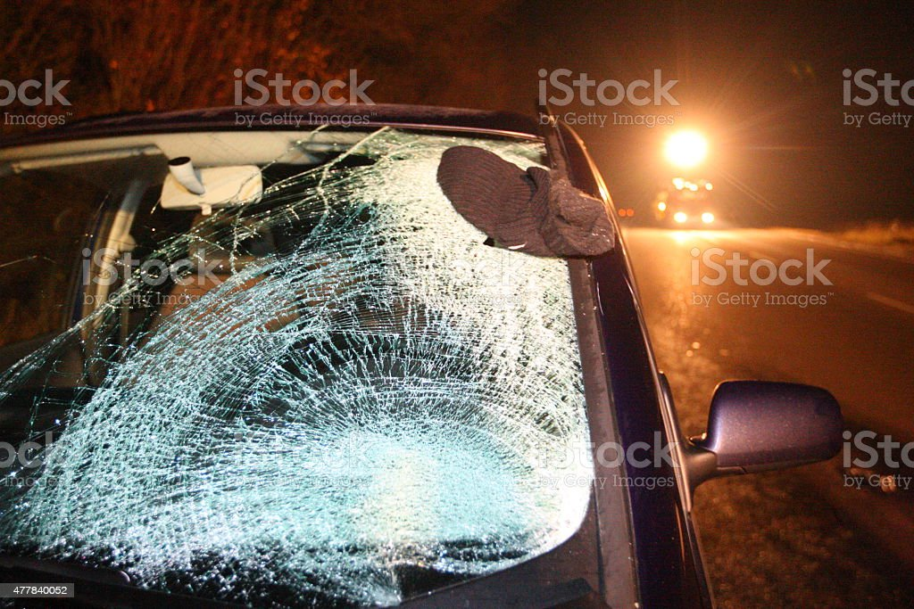 Broken windshield after car crash stock photo