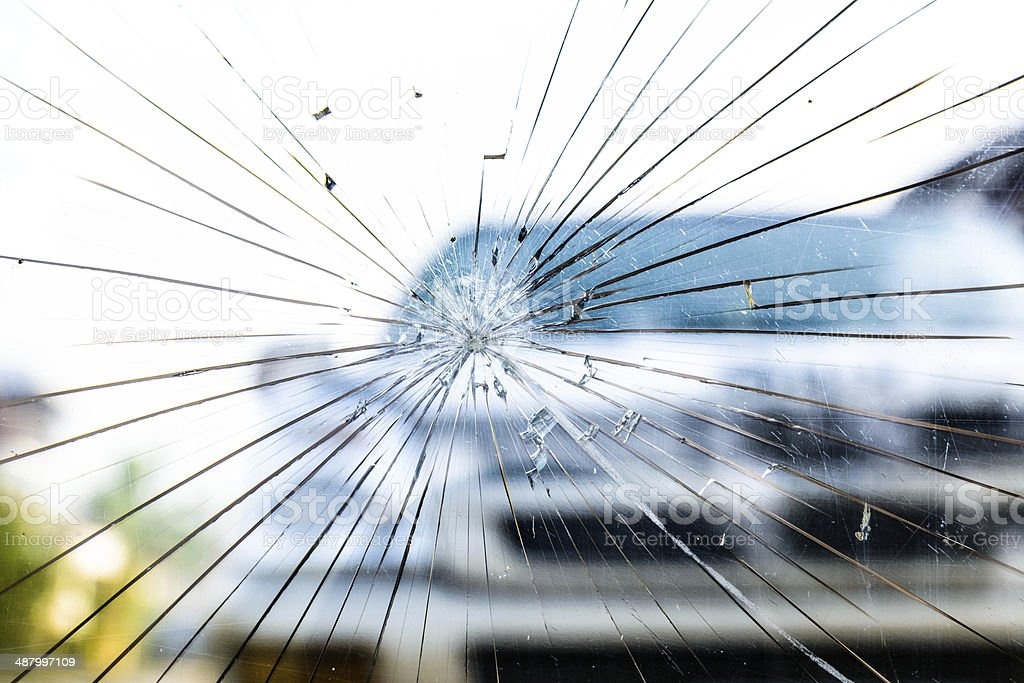 Broken Windshield stock photo