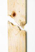 Broken Wood Plank on White