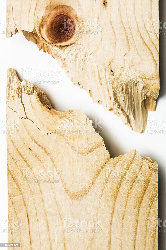 Broken Wood Plank on White stock photo
