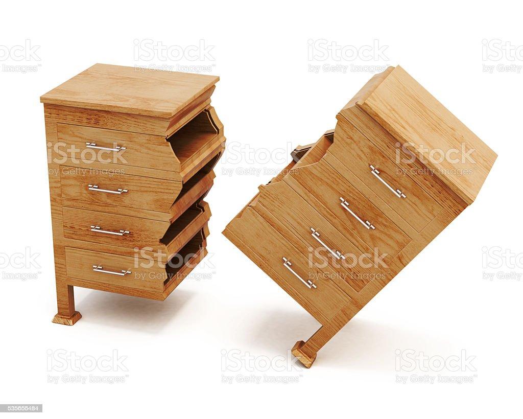 Broken wooden dresser on white background. 3d rendering stock photo