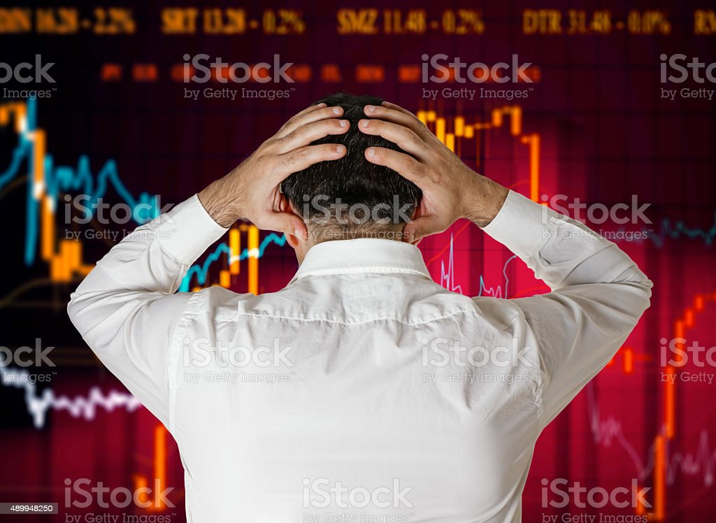 broker stock market crash stock photo