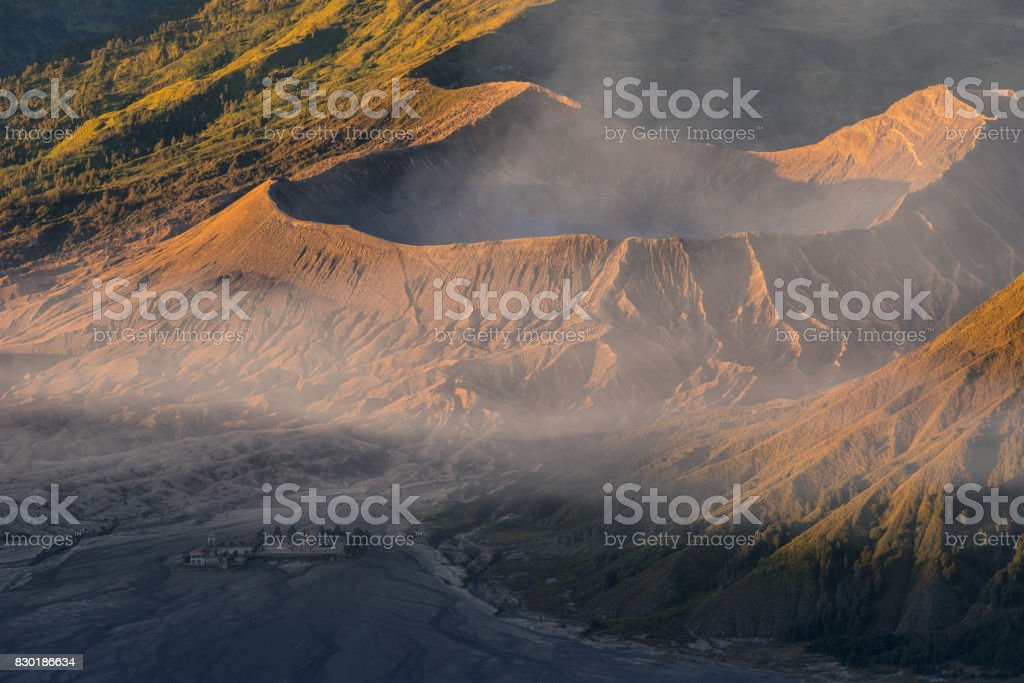 Bromo active volcano crater at sunrise, East Java, Indonesia stock photo