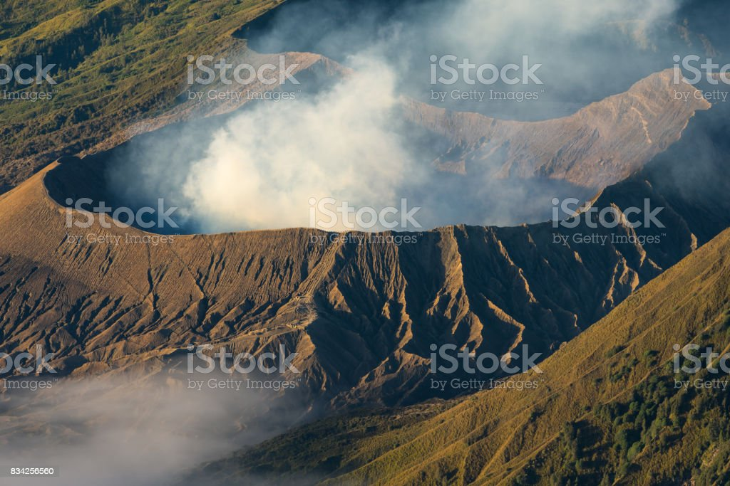 Bromo active volcano mountain crater in a morning, East Java, Indonesia stock photo