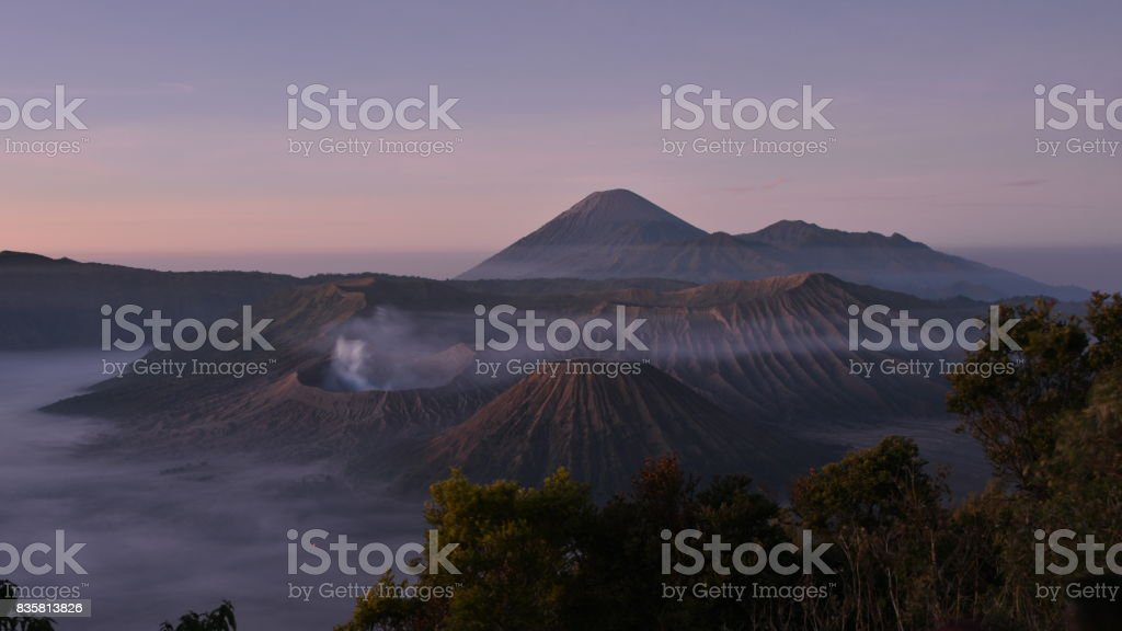 Bromo at dawn from Penajakan View Point stock photo