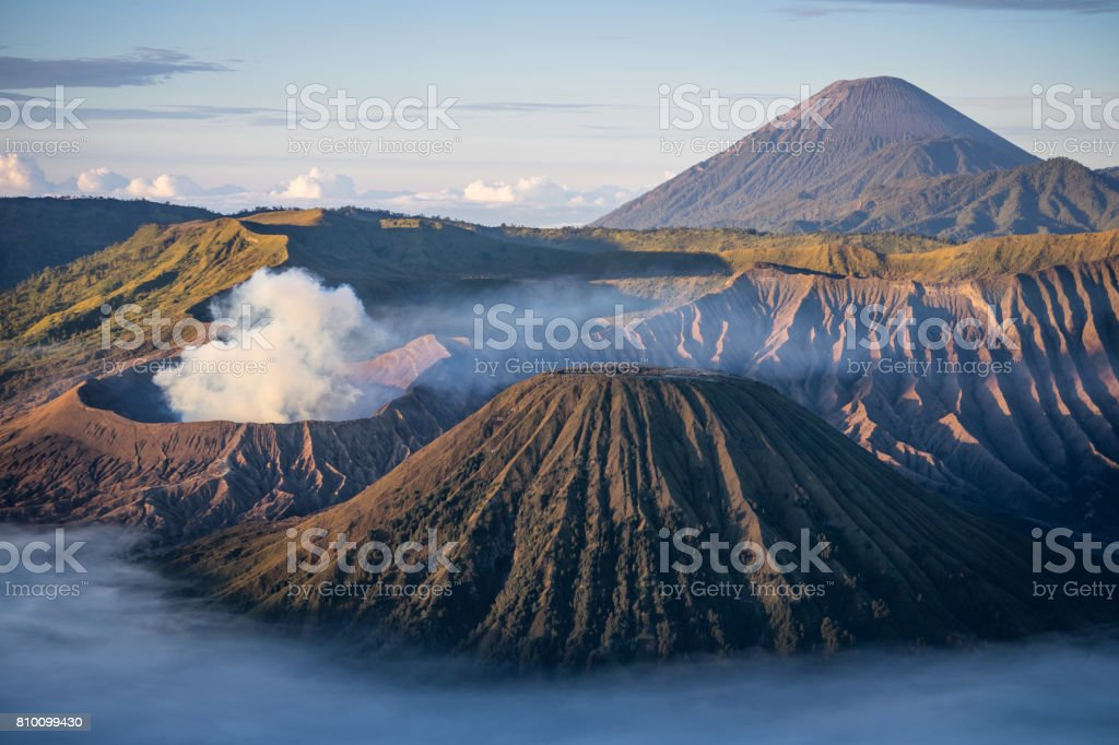 Bromo, Semeru, and Batok volcano mountain in a morning, East Java, Indonesia stock photo