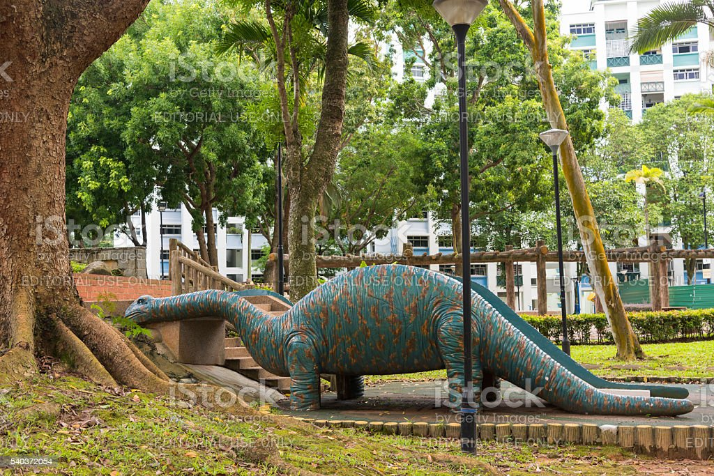 Brontosaurus at the park stock photo