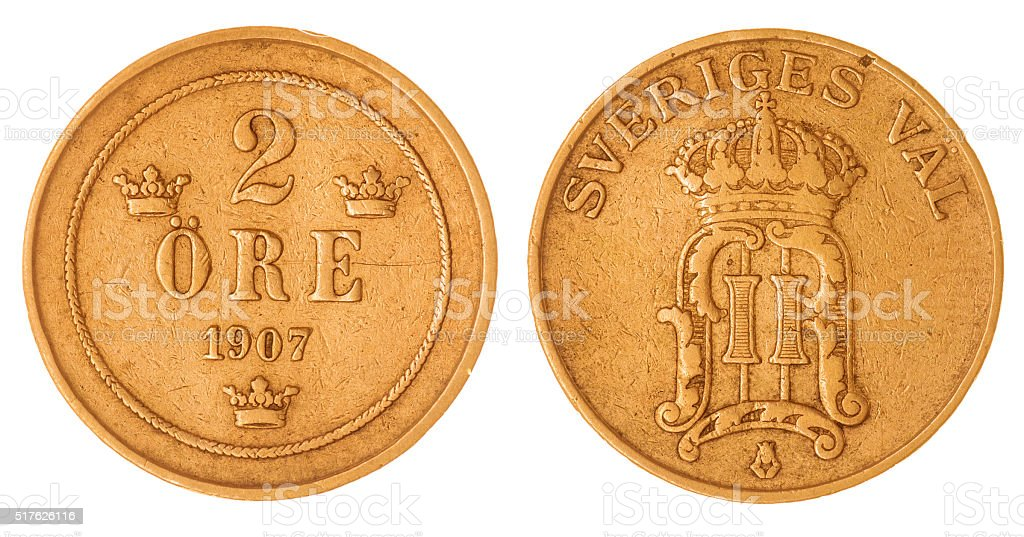 bronze 2 ore 1907 coin isolated on white background, Sweden stock photo