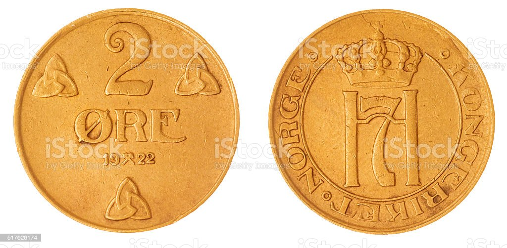 bronze 2 ore 1922 coin isolated on white background, Norway stock photo