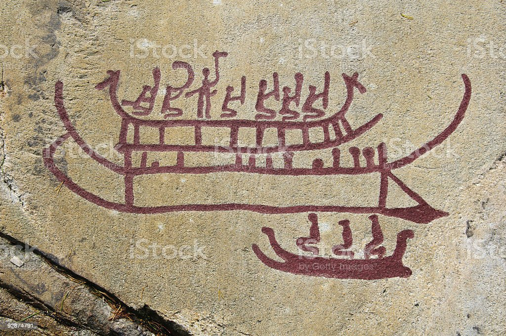 Bronze age rock carvings from Sweden stock photo