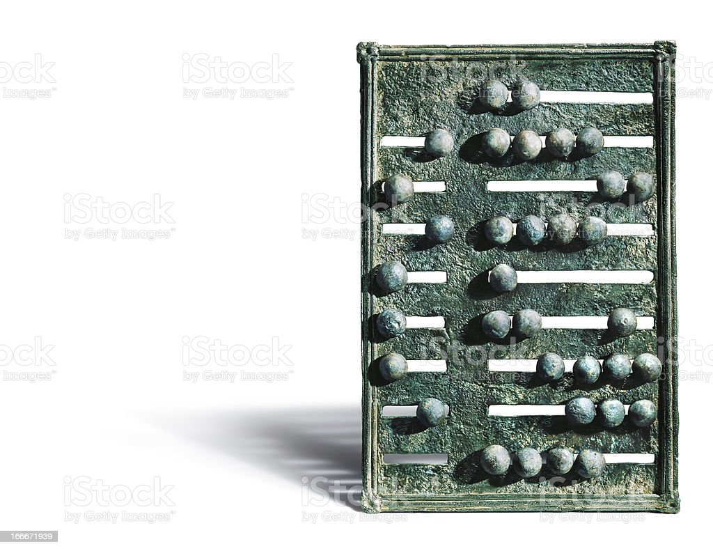 Bronze ancient abacus on white background with shadow royalty-free stock photo