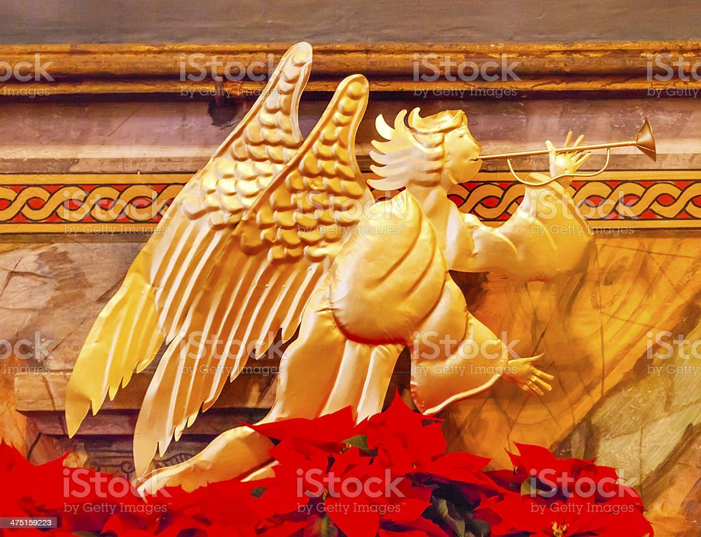Bronze Angel Decoration Christmas Mission Santa Barbara California stock photo
