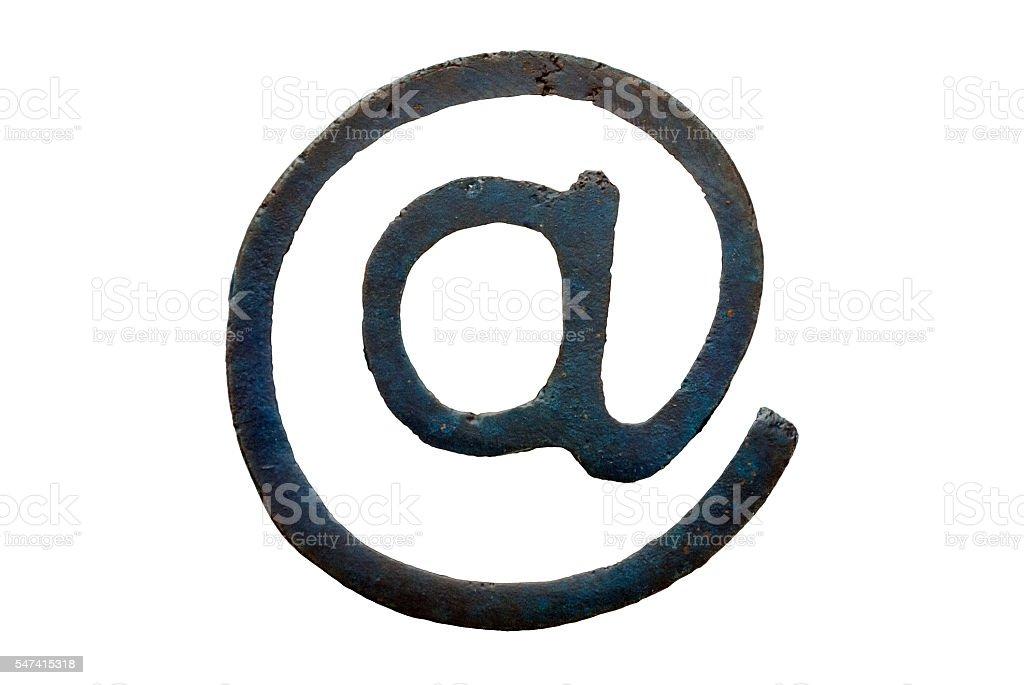 Bronze arroba symbol (computing at sign) - casting version stock photo