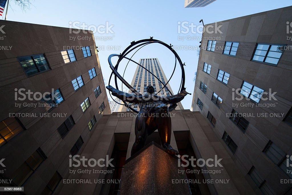 Bronze Atlas Statue at Rockefeller Center NYC stock photo