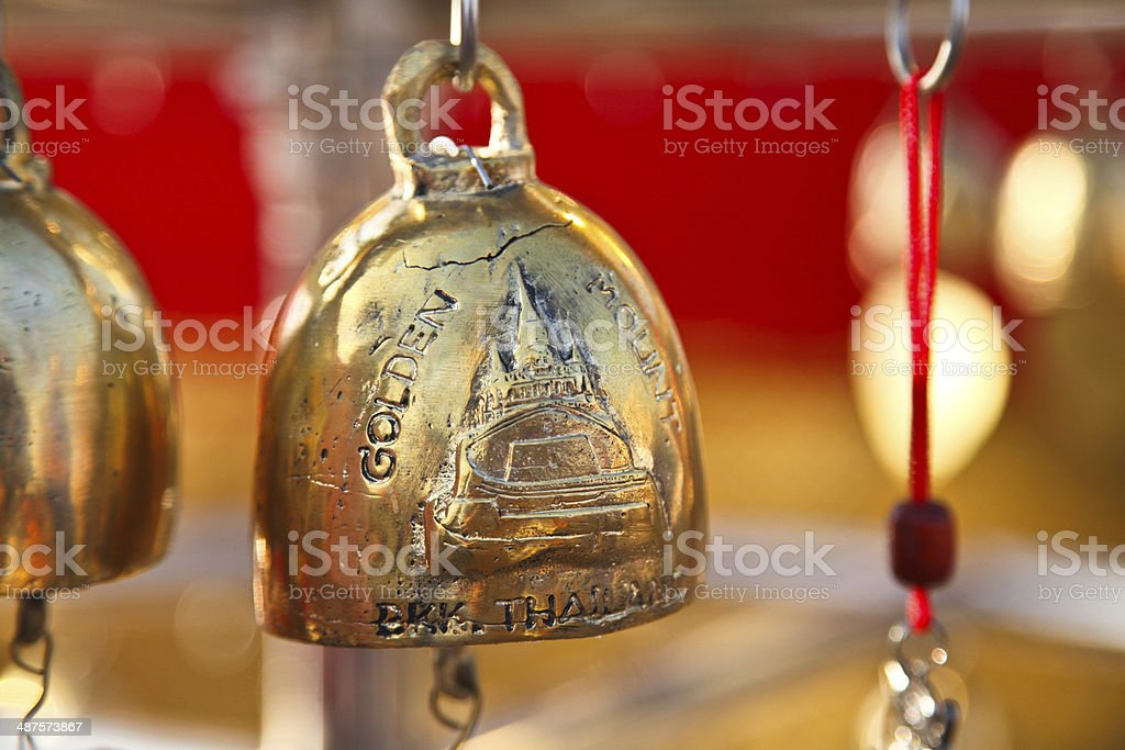 Bronze bell at golden mountain temple Thailand stock photo
