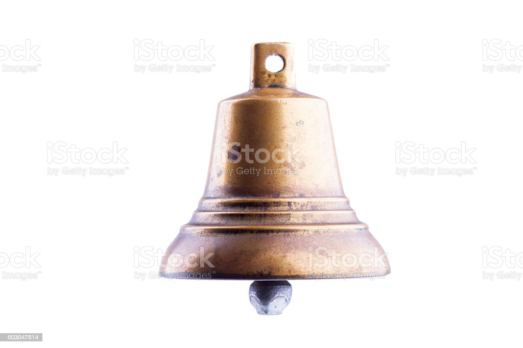 bronze bell isolated on white background stock photo