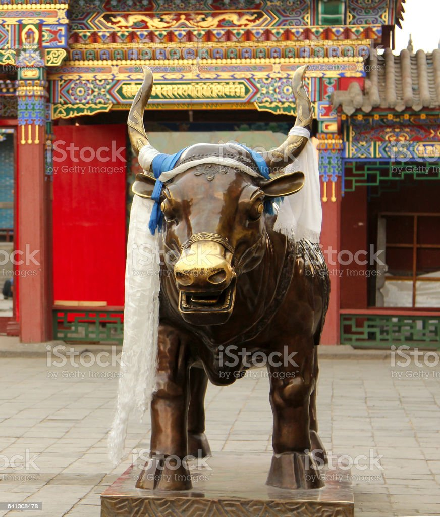 bronze bull in Dazhao Temple, Hohhot, Inner Mongolia stock photo