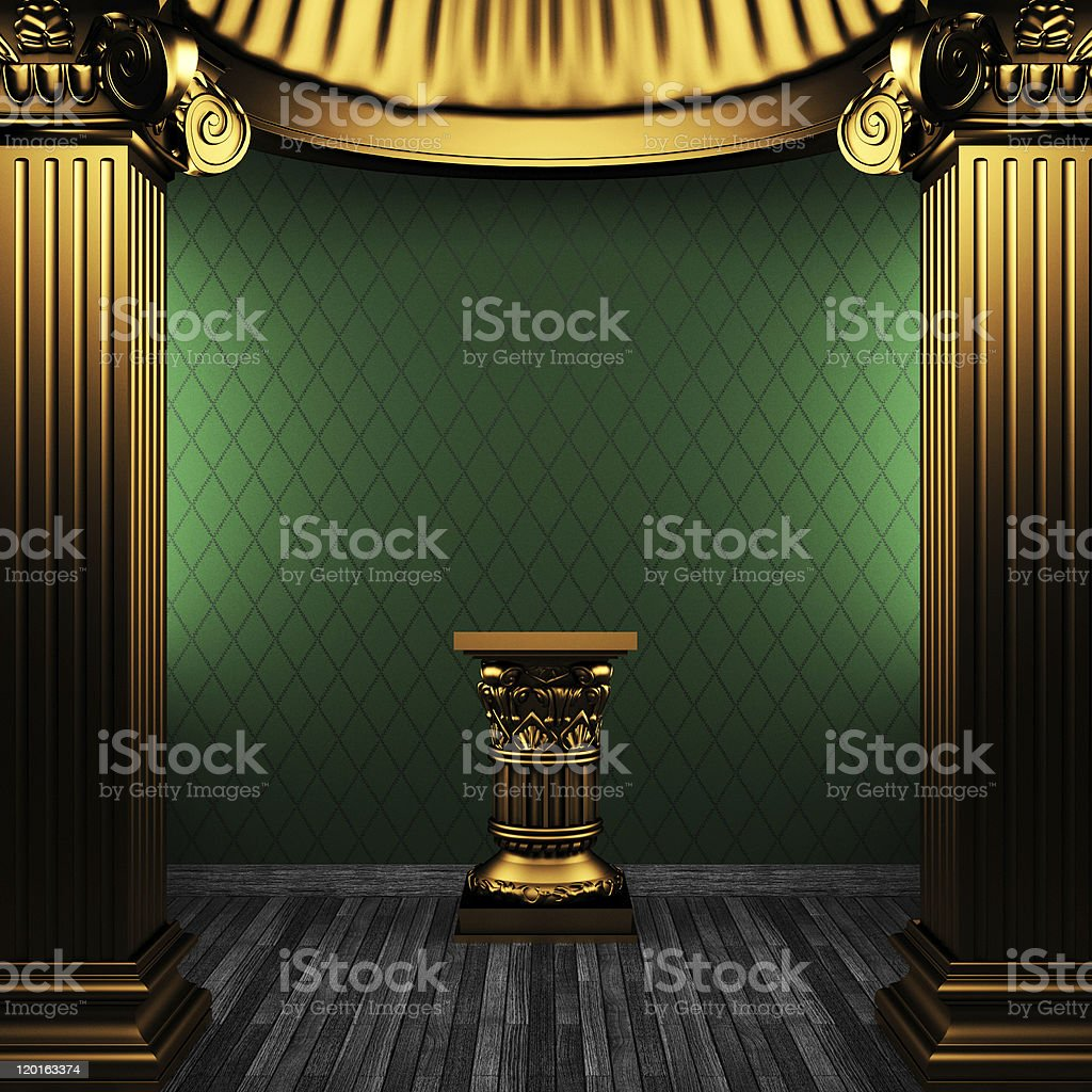 bronze columns, pedestal and wallpaper royalty-free stock photo