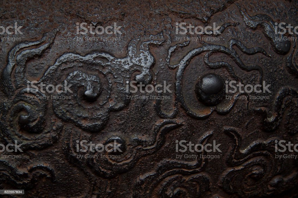 Bronze Ding shot in Temple of Marquis Wu stock photo