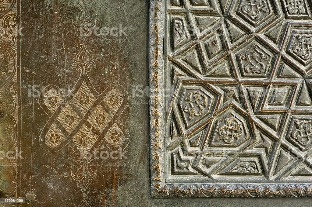 Bronze door detail from the Blue Mosque, Istanbul, Turkey royalty-free stock photo