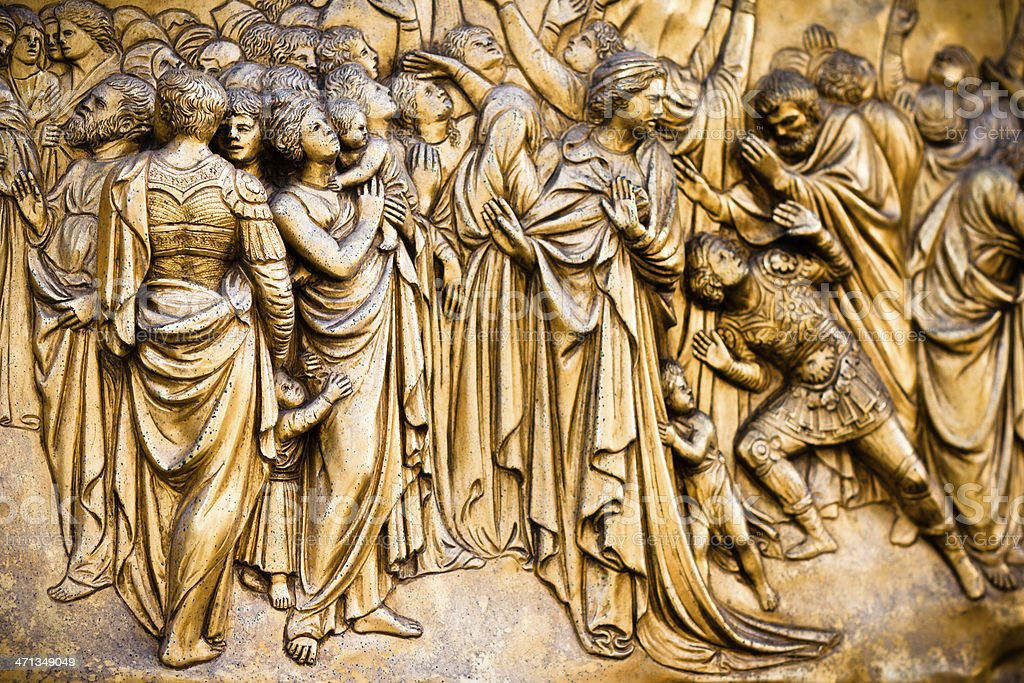 Bronze East Door Detail at Florence Baptistery, by Lorenzo Ghiberti royalty-free stock photo