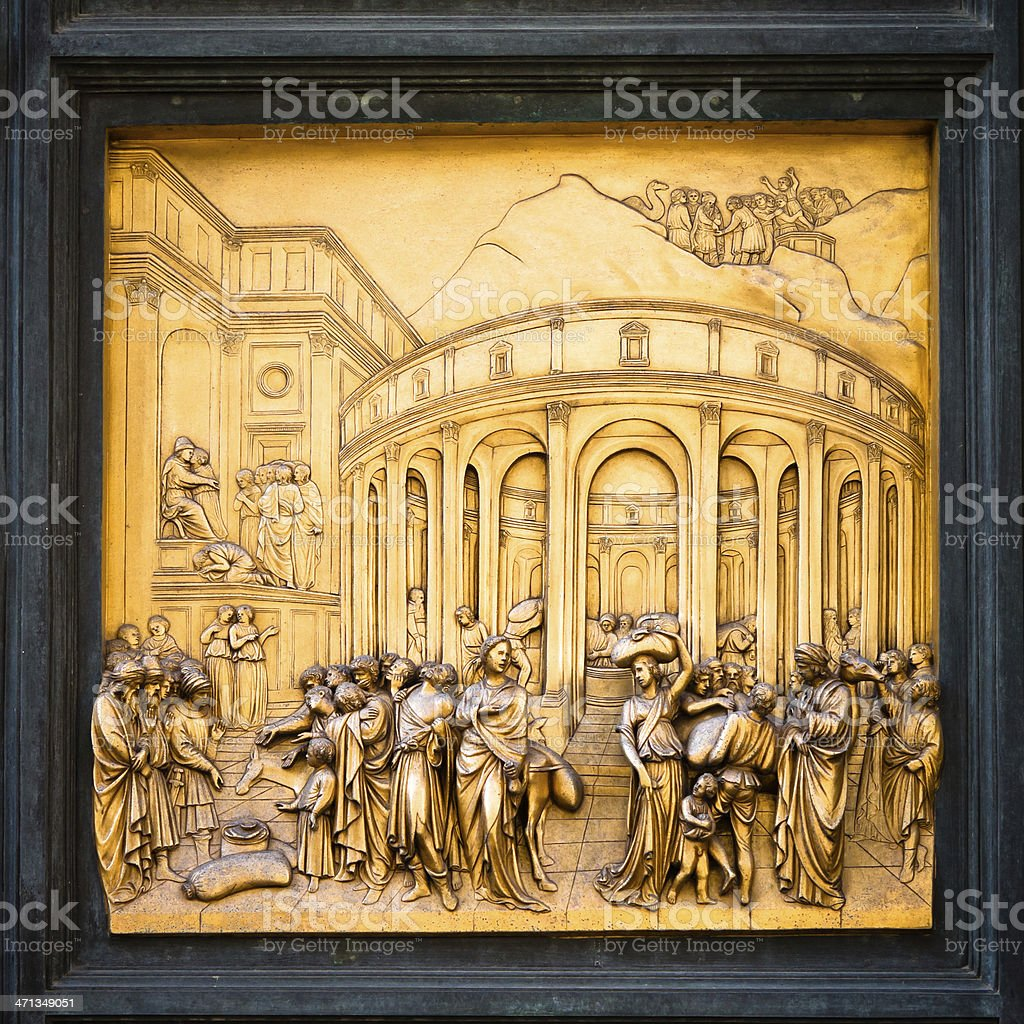 Bronze East Door Panel at Florence Baptistery, by Lorenzo Ghiberti stock photo