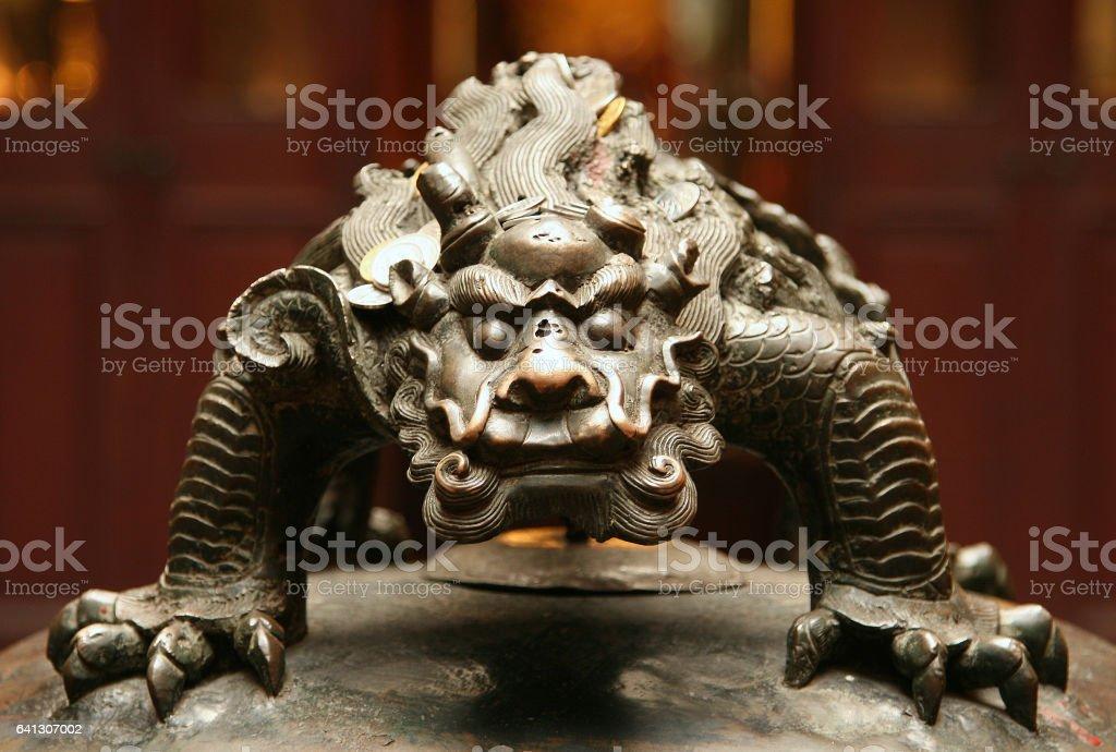 bronze figure of chinese mythological beast stock photo