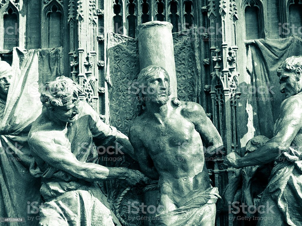 Bronze gate of cathedral of Milan stock photo