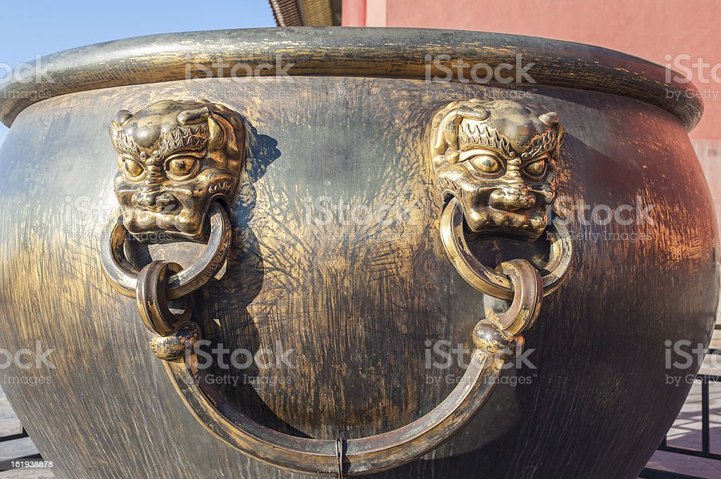 Bronze handle of the water vat in Forbidden City royalty-free stock photo