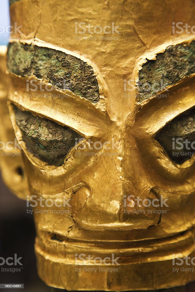 Bronze head with golden mask, Late Shang dynasty royalty-free stock photo