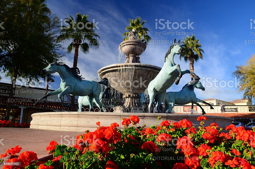 Bronze Horse Fountain in Downtown Scottsdale stock photo