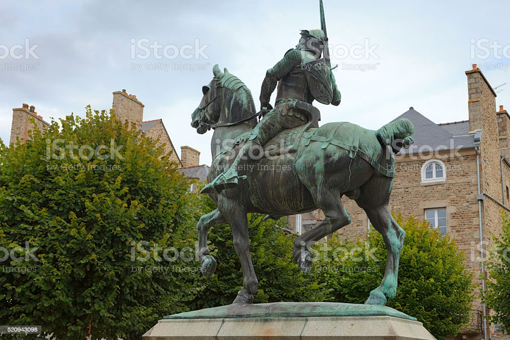 bronze horse statue of French Bertrand du Guesclin stock photo
