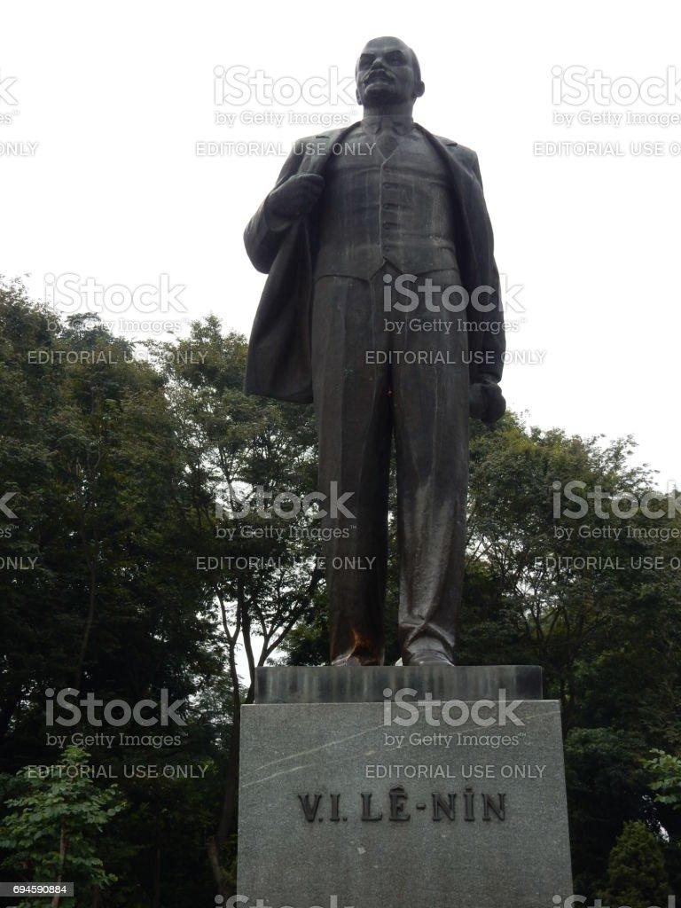 bronze Lenin statue in Hanoi, Vietnam stock photo