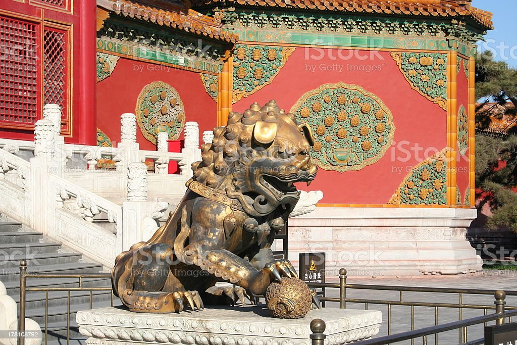Bronze Lion at Gate of Imperial Supremacy, Forbidden City, Beijing royalty-free stock photo
