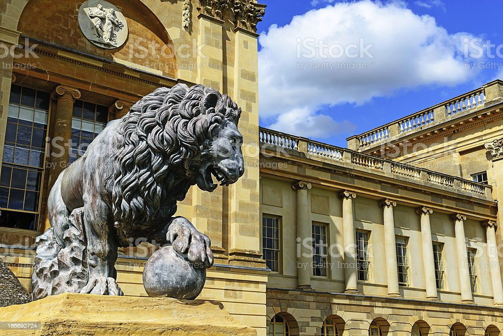 Bronze Lion at Stowe royalty-free stock photo