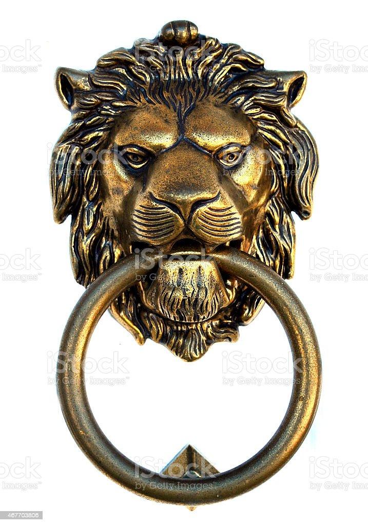 Bronze lion door knocker stock photo