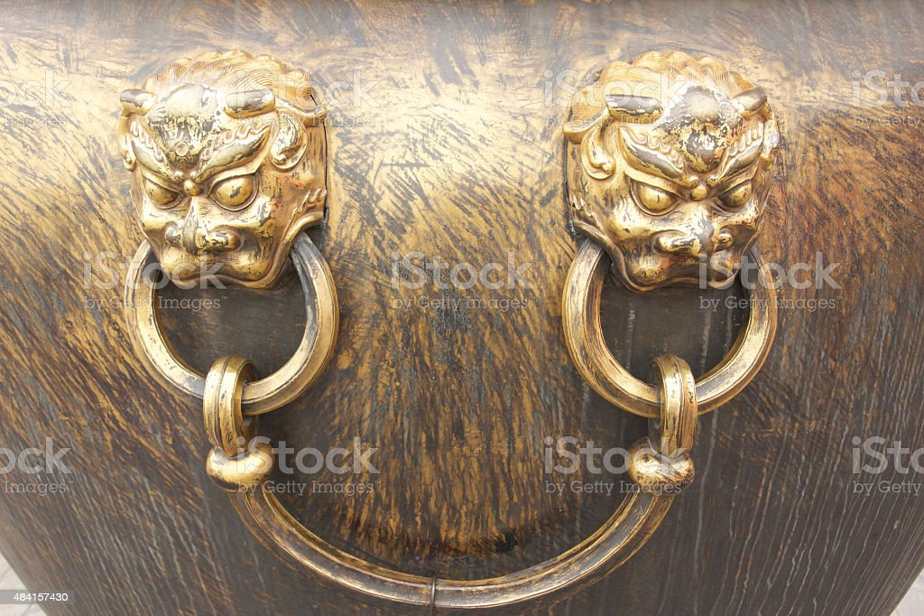 Bronze Lion Head Handle stock photo