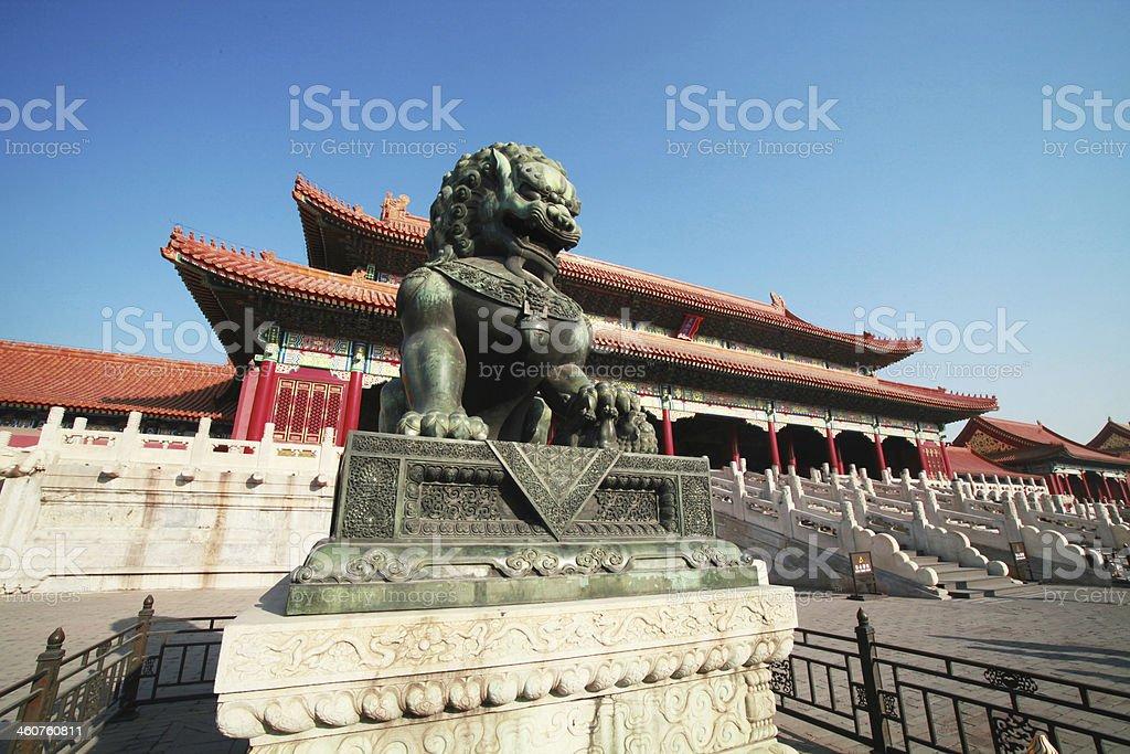 bronze lion in China. stock photo