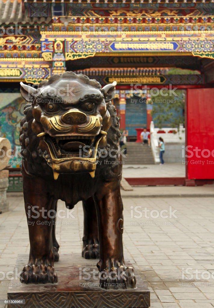 bronze lion in Dazhao Temple, Hohhot, Inner Mongolia stock photo