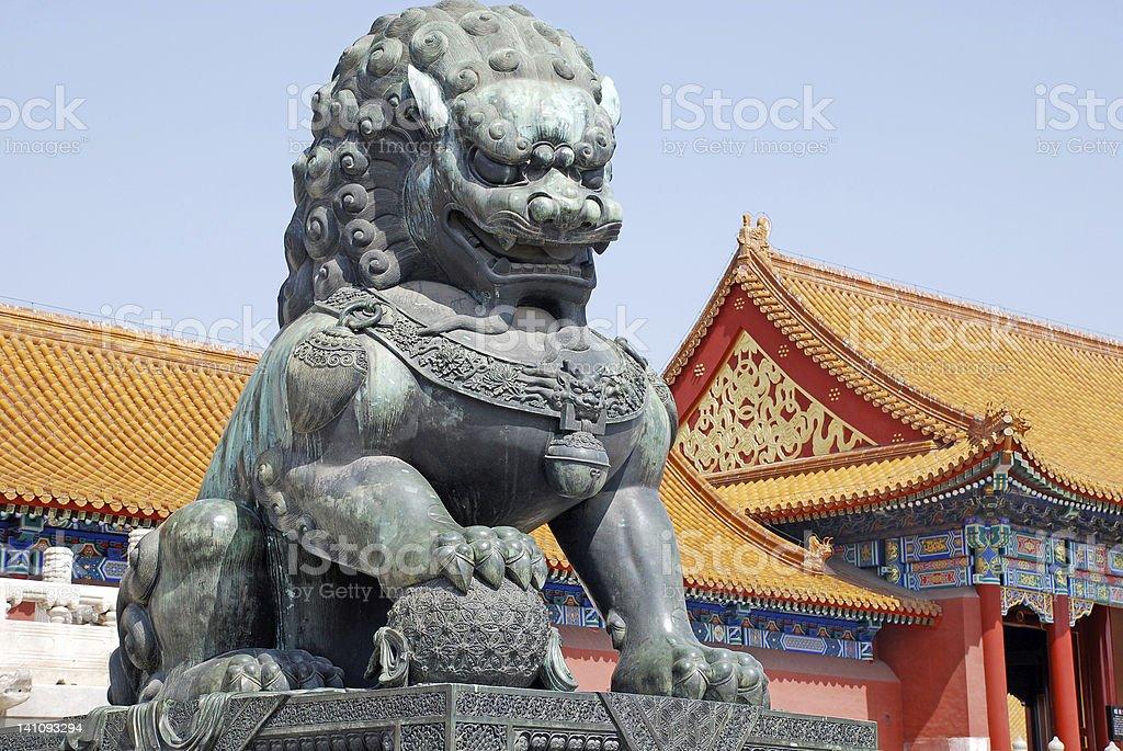 Bronze lion in Forbidden city(Beijing, China) stock photo