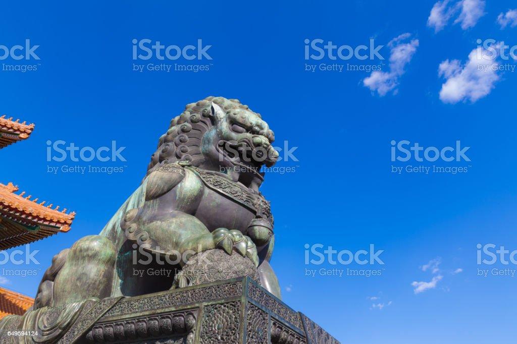 Bronze Lion in Forbidden City stock photo