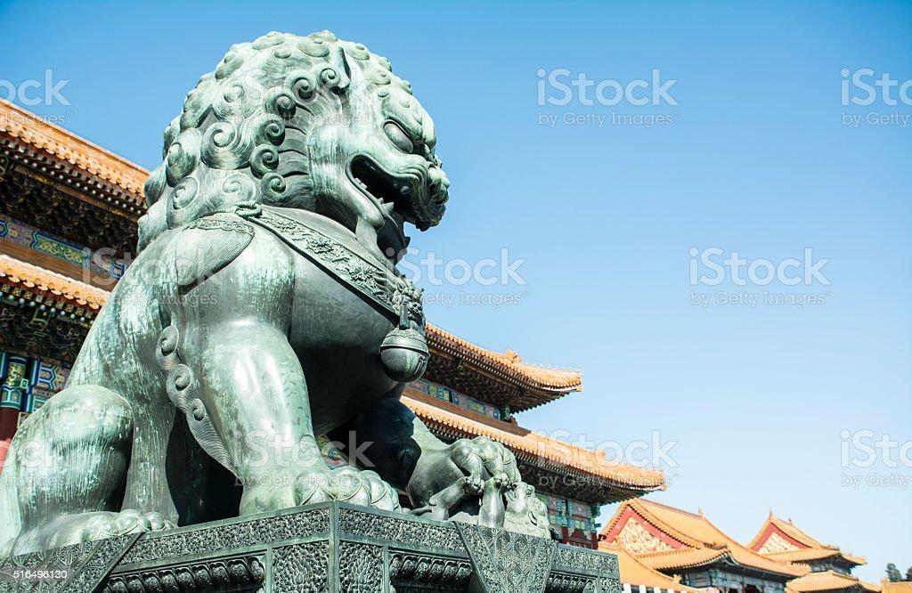 bronze lion in the Forbidden city, Beijing stock photo