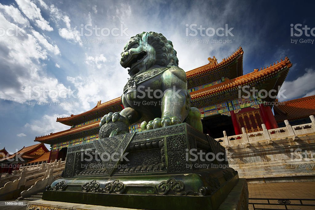Bronze lion stock photo