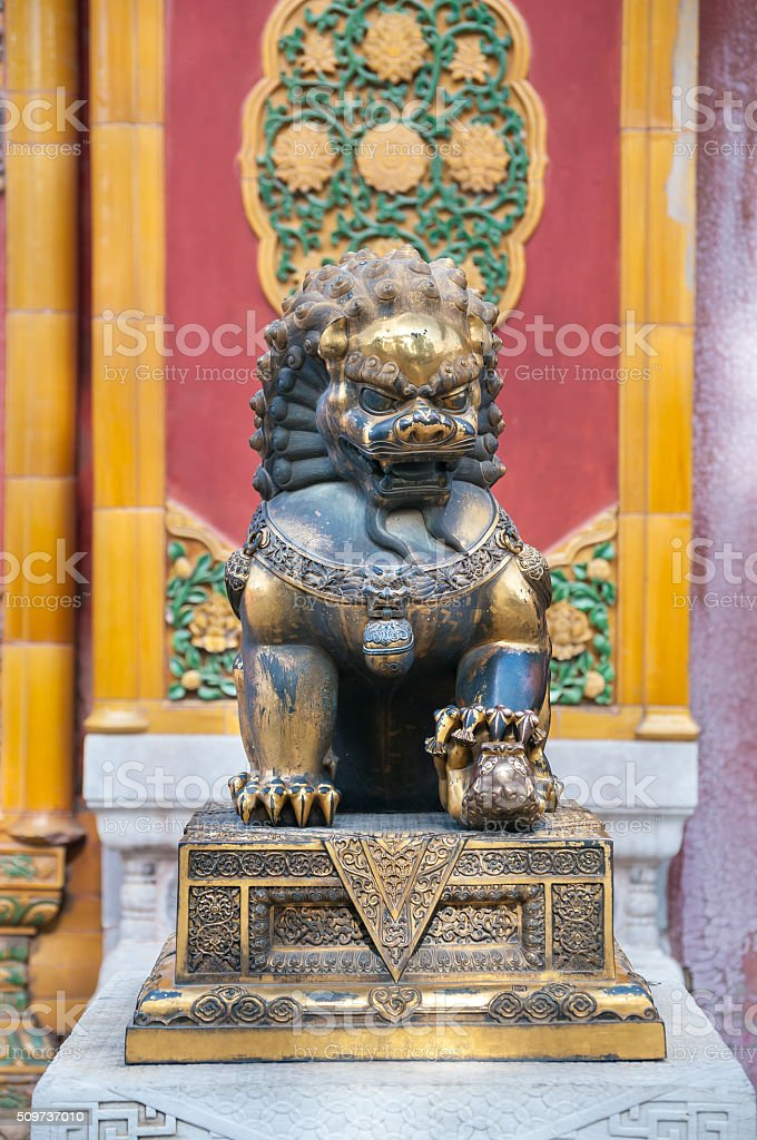 Bronze lion statue at the Forbidden City, Beijing stock photo