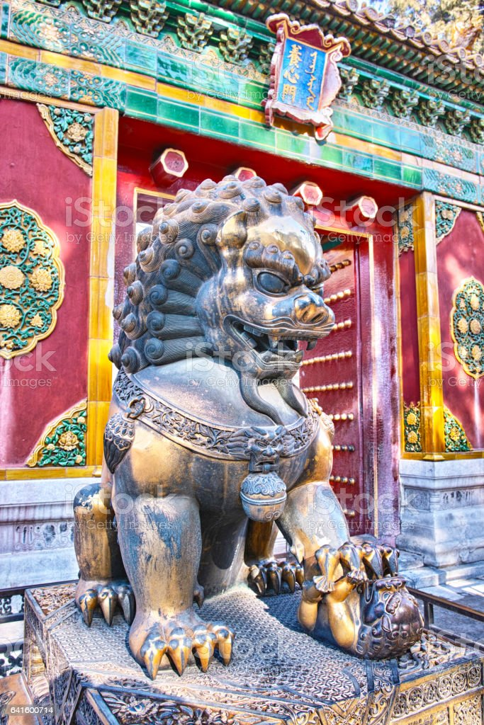 A bronze lion statue in front of YangXin Hall, Forbidden City stock photo