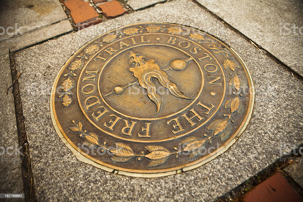 Bronze marker on the Freedom Trail stock photo