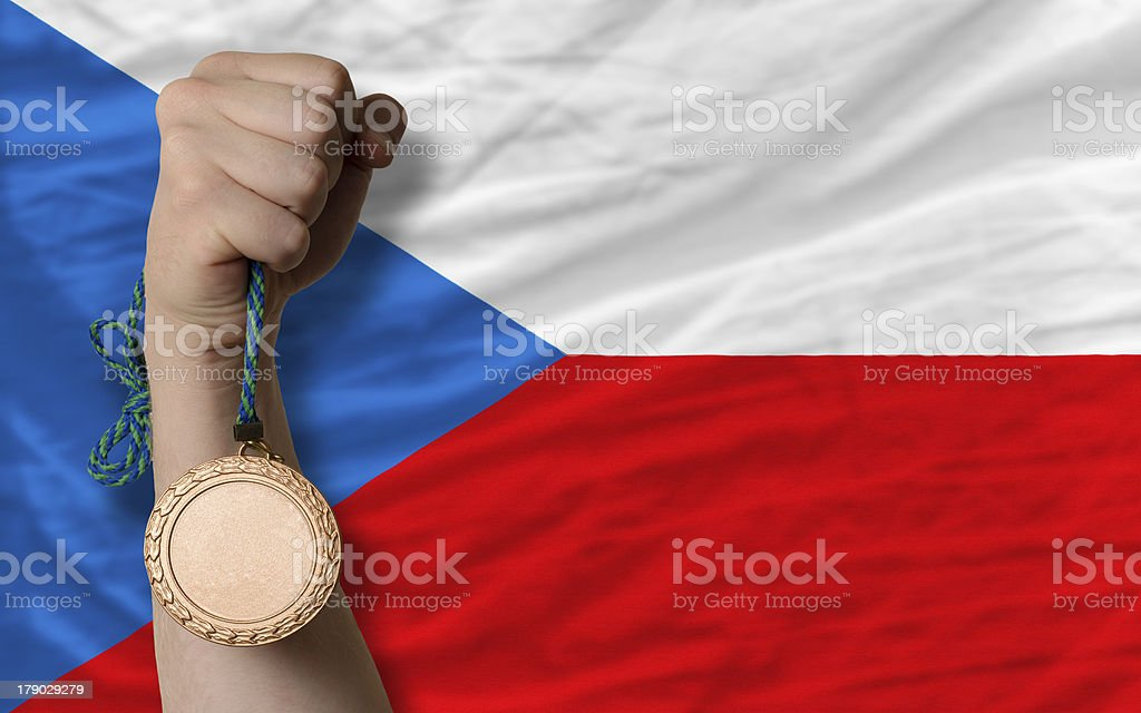 Bronze medal for sport and  national flag of czech royalty-free stock photo