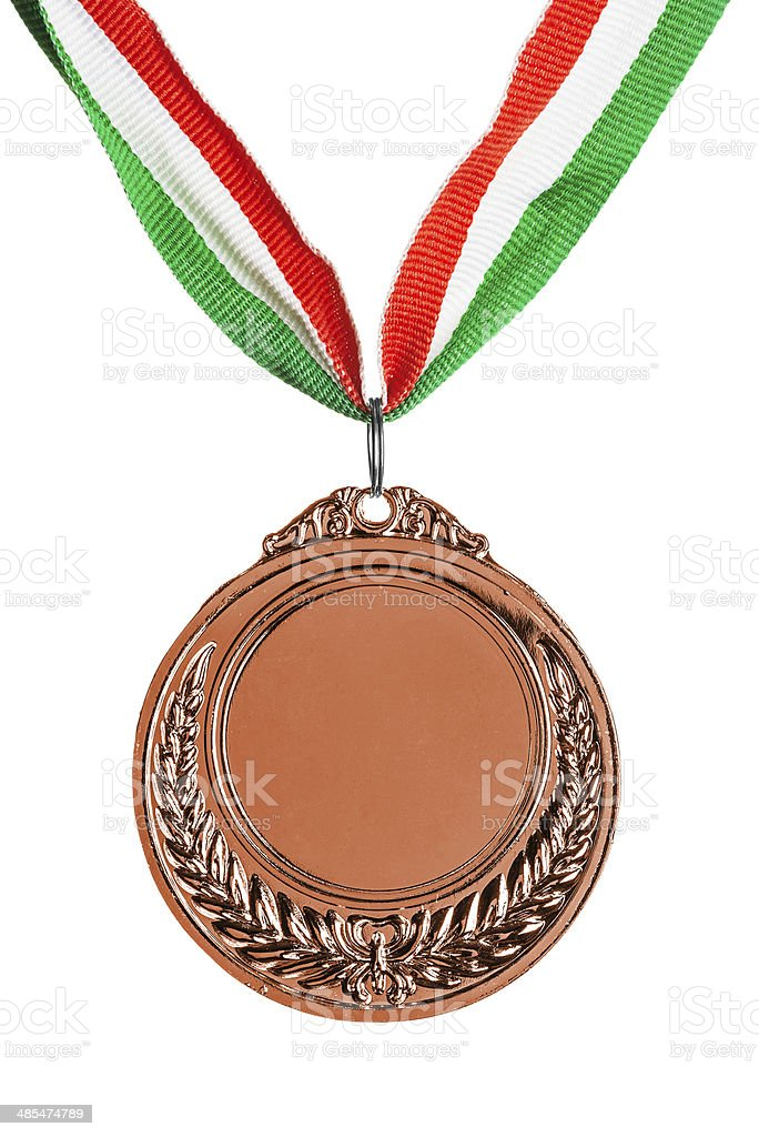Bronze medal isolated on white stock photo