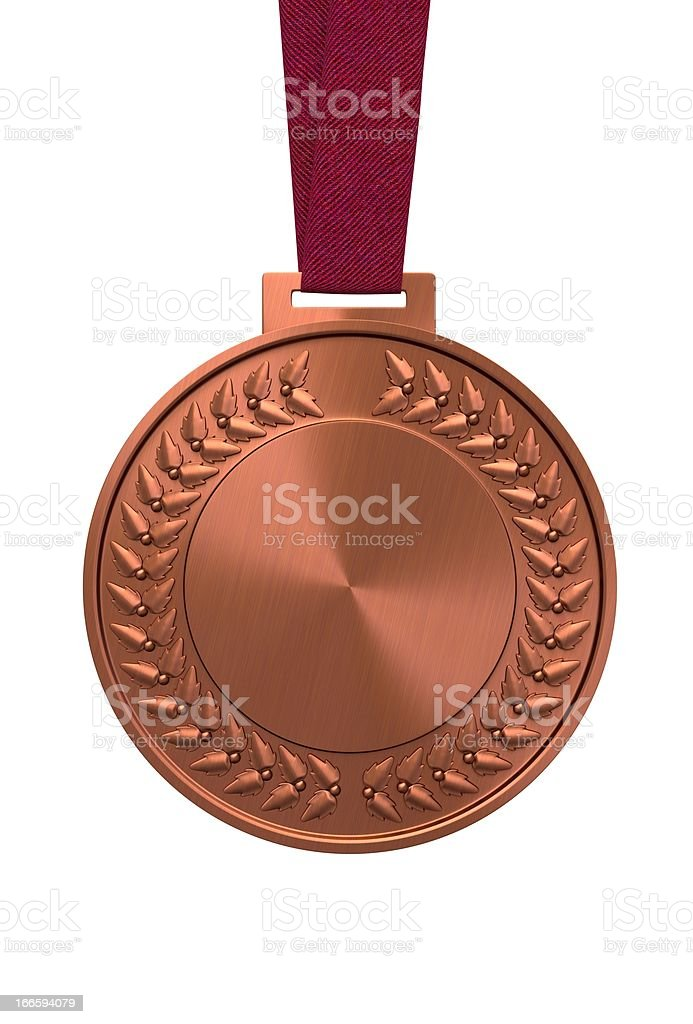 Bronze medal on a red ribbon stock photo