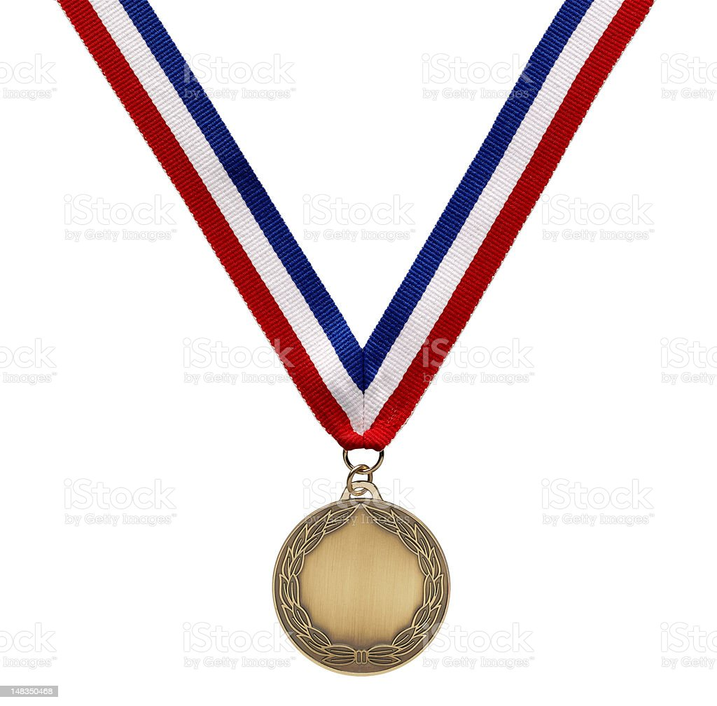 Bronze medal on ribbon with clipping path stock photo